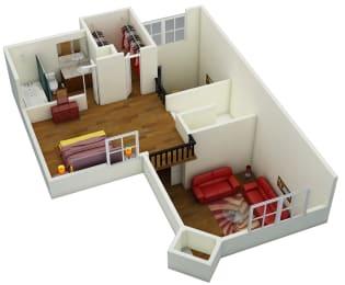 Floor Plan One Bed   One + Half Bath   C3