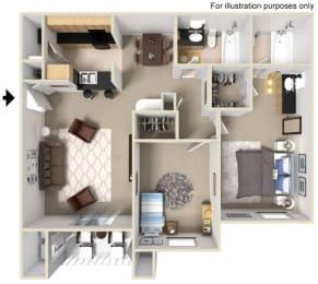 2 Bed 2 Bath Floor Plan at Vizcaya Hilltop Apartments, NV, 89523