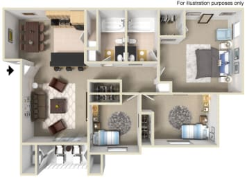 3 Bed 2 Bath Floor Plan at Vizcaya Hilltop Apartments, Reno, 89523
