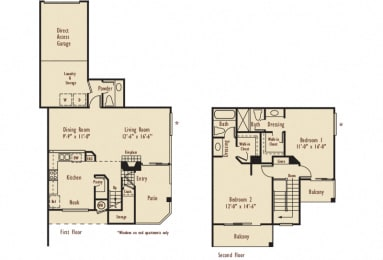 D2 – 2 Bedroom 2.5 Bath Floor Plan Layout – 1200 Square Feet