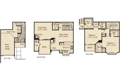 D5 – 2 Bedroom 2.5 Bath Floor Plan Layout – 1275 Square Feet
