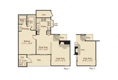 A – 1 Bedroom 1 Bath Floor Plan Layout – 795 Square Feet