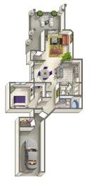 Geneva Classic – 1 Bedroom 1 Bath Floor Plan Layout – 828 Square Feet