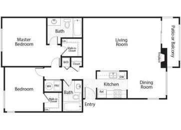 Thielsen - 2 Bedroom 2 Bath Floor Plan Layout - 1027 Square Feet