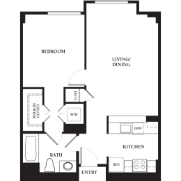 Marina - 1 Bedroom 1 Bath Floor Plan Layout - 751 Square Feet