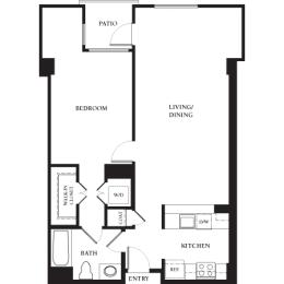 Twin Peaks - 1 Bedroom 1 Bath Floor Plan Layout - 912 Square Feet