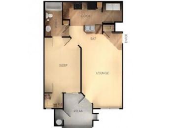 One Bedroom One Bathroom B Floorplan at Ascent at Papago Park, AZ, 85008