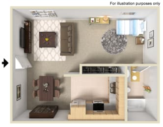 Studio Floor Plan at Morning View Terrace Apartment Homes, 439 W El Norte Parkway, Ste 102
