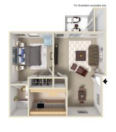 One Bedroom One Bathroom Floor Plan, at Terrace Gardens Apartment Homes, CA