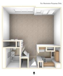 Studio Apartment Floor Plan Flanders West Apartments