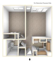 One Bedroom Floor Plan Flanders West Apartments