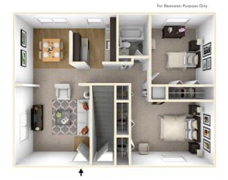 Two Bedroom Floor Plan Palmer Green Apartments