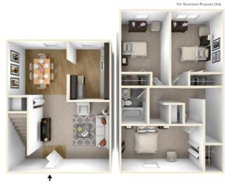 Three Bedroom Floor Plan Palmer Green Apartments