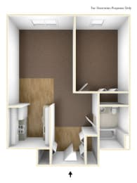 One Bedroom Apartment Floor Plan  Walkover Commons Apartments
