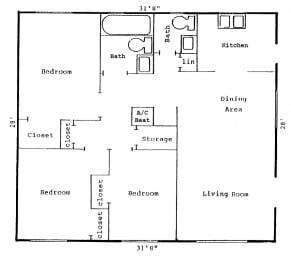 Lakewood Terrace Floor Plan 3 bed 2 bath