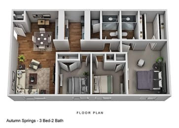 3 Bed 2 Bathroom Floor Plan at Autumn Springs Apartments, Ohio