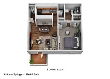 One Bedroom Floor Plan at Autumn Springs Apartments, Columbus, Ohio