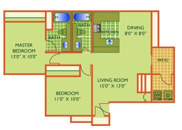 Floor Plan Beach  - 2 Bedrooms