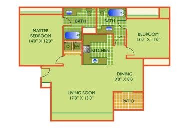 Floor Plan Coral - 2 Bedrooms