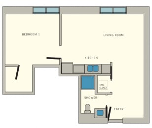 A1 Floor Plan at Aviator at Brooks Apartments, Clear Property Management, San Antonio, TX