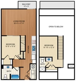 Two Bed Two Bath Floor Plan at Eon at Lindbergh, Georgia, 30324