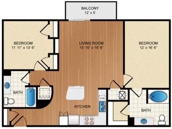 Two bedroom Two bathroom Floor Plan at Eon at Lindbergh, Atlanta, GA, 30324
