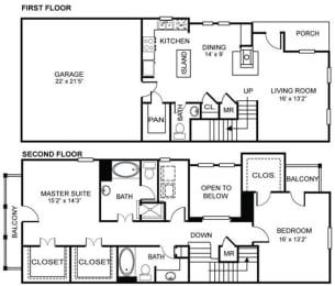 2x2.5 B3 Floor Plan at Estancia Townhomes, Dallas, Texas