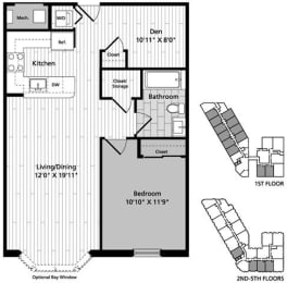 A2D 1 Bedroom Den 1Bath Floor Plan at Gatehouse 75, Charlestown, Massachusetts
