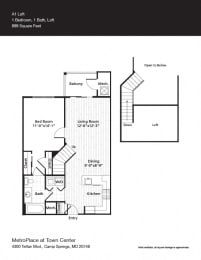 A1L Floor Plan at Metro Place at Town Center, Camp Springs, MD, 20746