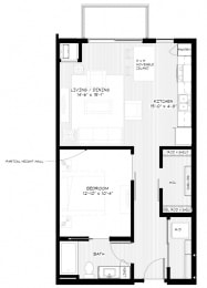 Zest Apartments in Minneapolis, MN A1 (714 sq)