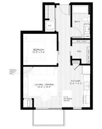 Zest Apartments in Minneapolis, MN S2 (618sq)
