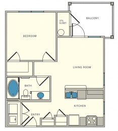 Unit A2 corner - one bed, one bath, The Lookout at Comanche Hill   Unit A2 corner - one bed, one bath, at CLEAR Property Management , The Lookout at Comanche Hill Apartments, San Antonio, 78247