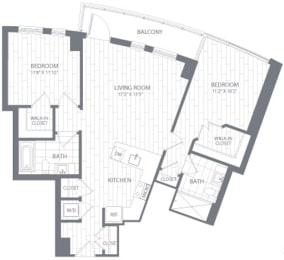 B1 Floor Plan at Element 28, Bethesda, MD