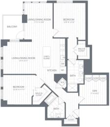 B2 Floor Plan at Element 28, Bethesda, MD, 20814