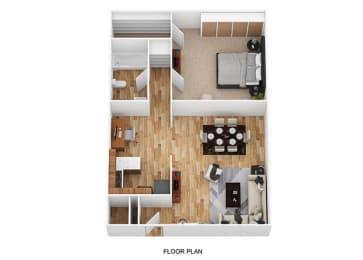 1 Bed / 1 Bath Floor Plan at Heritage Hill Estates Apartments, Ohio