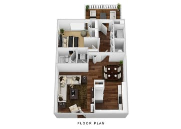 1 Bed 1 Bath Floor Plan at Westpark Townhomes, Indiana, 46214