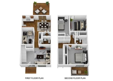 3 Bed 1.5 Bath Floor Plan at Westpark Townhomes, Indianapolis, IN, 46214
