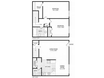 Floor Plan Two Bed Townhome