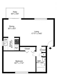 One Bedroom Apartment at Georgetown Apartments, Williamsville, NY