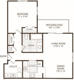 Floor Plan 1 Bedroom/1 Bath