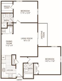 Floor Plan 2 Bedroom/2 Bath (Price is Per Bed)