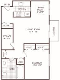 Floor Plan 1 Bedroom - 1 Bath