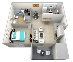 Floor Plan  The Garrison One Bedroom One Bath Floor Plan at Riverstone at Owings Mills Apartments, Maryland