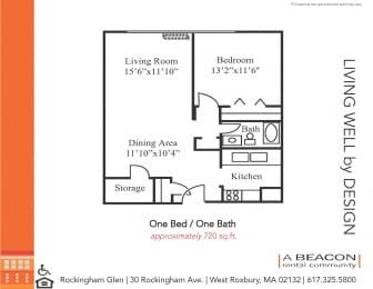 One bedroom apartment in West Roxbury, MA