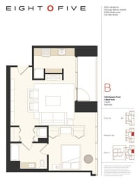 A2 Floor Plan at Eight O Five, Illinois