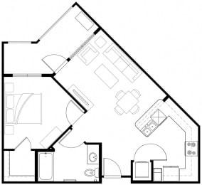 1x1 Floor Plan Vintage at the Crossing l Senior Apartments in Reno, NV 89521