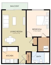 One Bedroom One Bath Floor Plan at Stone Creek, Redwood City, CA