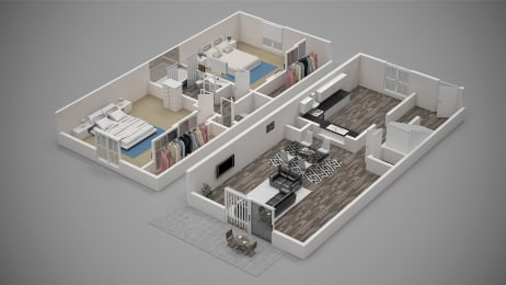 The Legend at Speedway | 2 Bed Townhome | 3-D Floorplan