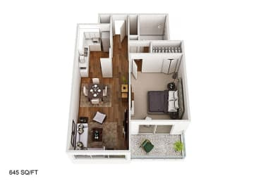 1 Bed 1 Bath Floor Plan at CityView on Meridian, Indianapolis