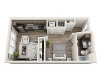Floor Plan  Studio S1 3D Floor Plan Layout at The Edison Lofts Apartments, Raleigh, NC